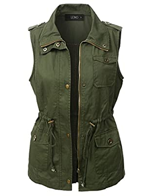 LE3NO Womens Lightweight Sleeveless Military Anorak Vest