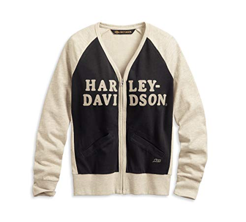 Harley-Davidson Women's Chain Stitch Colorblock Cardigan (White/Black, XL) from Harley-Davidson