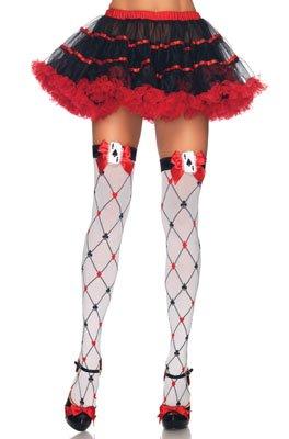 Diamond Card Suit Thigh Highs (Leg Avenue Women's Woven Diamond Card Suit Thighs Highs, White/Red/Black, One Size)