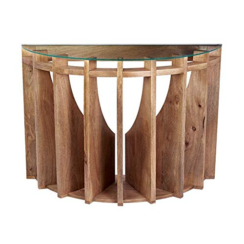 Natural Mango Wood Base with Clear Glass Top Console Table + Free Basic Design Concepts Expert Guide - Table Demilune Console Glass