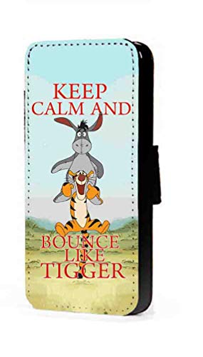 c riveras Tigger and Eeyore Inspired Phone Case Keep Calm and Bounce Like Tigger Fan Art Faux Leather flip Wallet Mobile Cover for iPhone XR -