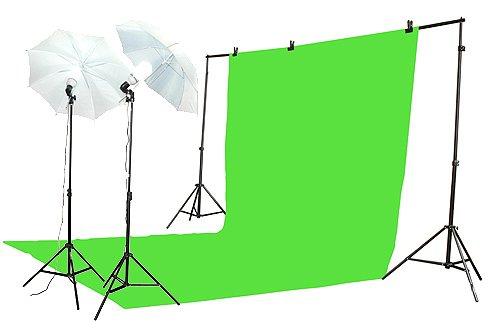roma key Green Screen Lighting Kit with 10x20 Foot Green Muslin Backdrop, 2 Each of 7 Foot Light Stand, 105 Watt Fluorescent Bulb and 32-Inch White Umbrellas (Tube Green Screen)
