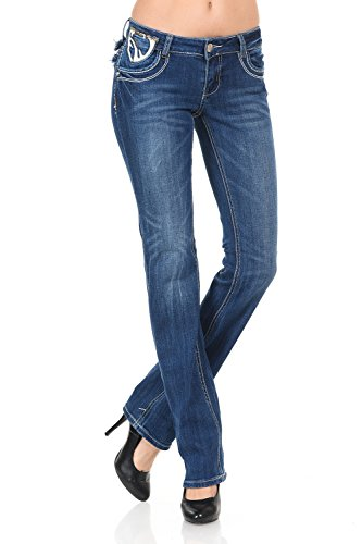 VIRGIN ONLY Women's Faux Leather Detail Straight Leg Jeans-7-Denim Detail Straight Leg Jeans