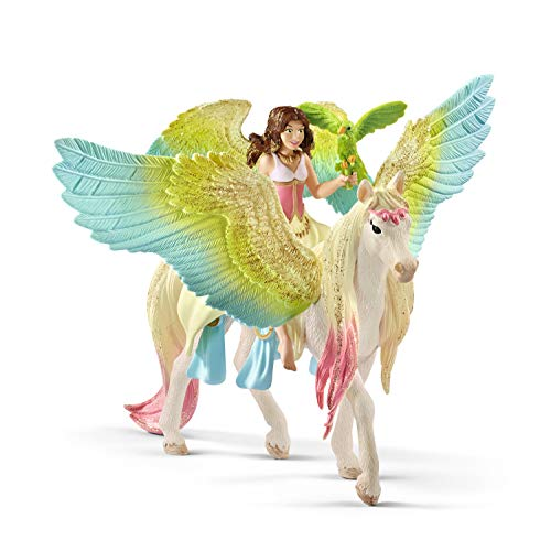 Schleich Fairy Surah with Glitter Pegasus Toy, Multicolor ()