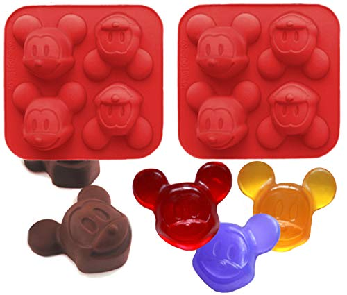 (Pack of 2 Mickey Mouse Silicone Molds for Baking, Arts and Crafts, Candle and Soap Making)
