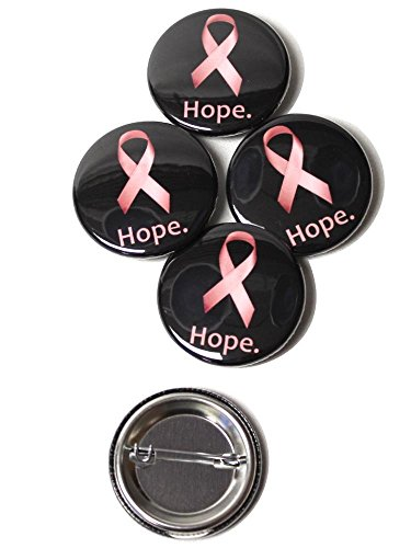 - Hope Pink Ribbon Pinback Buttons - 1.5 Inch Round - 5 Pack