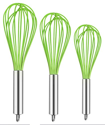 Gadgets Silicone (TEEVEA (Upgraded) 3 Pack Very Sturdy Kitchen Whisk Silicone Balloon Wire Whisk Set Egg Beater Milk Frother Kitchen Utensils Gadgets for Blending Whisking Beating Stirring Green)