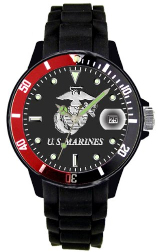 Aqua Force Marines Watch with 42mm Black Face and Red/Black Rotating Bezel by Aqua Force