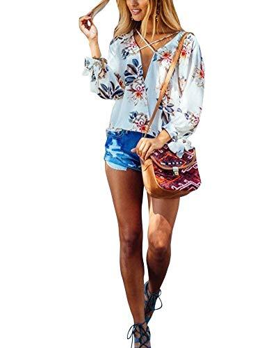 Mousseline Motif Loisir Fashion Shirt Automne Vintage Tops Manches Chemise breal Bouffant Elgante Cou Blanc Blouse V Longues Fleur Haut Femme Printemps wIqxx7fXA