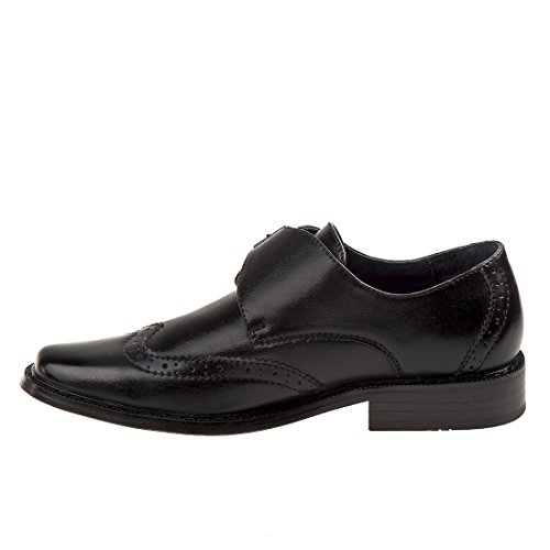 Image of Joseph Allen Boy's Wingtip Shoe with Side Buckle, Black, 9 M US Toddler'