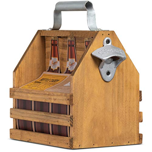 Refinery and Co. Wooden Bottle Caddy, Six-Pack Beer Carrier with Built-In Metal Bottle Opener, Moisture-Resistant Brew Holder, Protect Up to 6 Bottles of Craft Beer and Homebrew, Natural Vintage Stain ()
