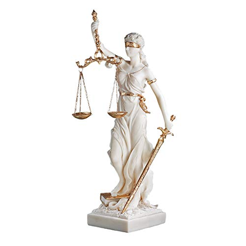 Design Toscano Themis Blind Lady of Justice Statue Lawyer Gift, 13 Inch, Bonded Marble Polyresin, White -