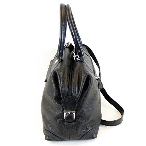 Pavini Damen Tasche Shopper Verona Leder schwarz 12634 Handyfach Reißverschluss