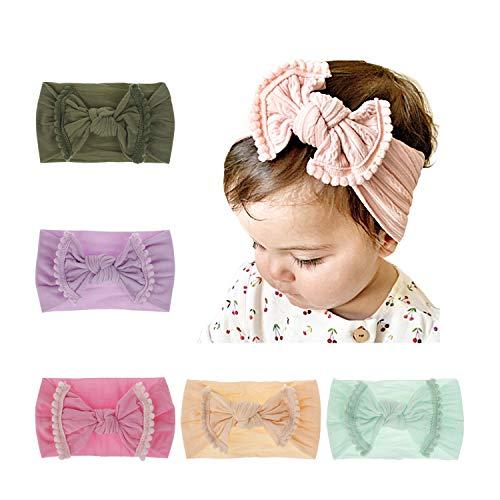 BQUBO Baby Girl Headbands Turban Bow Nylon Headband for Baby Elastic Knotted Headbands Head Wraps ()