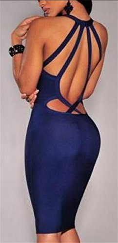V Color Backless Fashionable Sexy Neck Hip Jaycargogo Blue Dress Womens Package Solid qfyXF