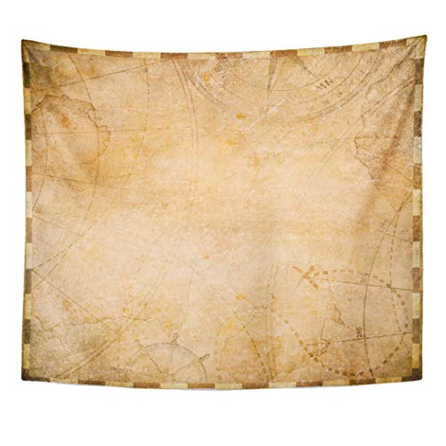 (Emvency Decor Wall Tapestry Adventure Old Pirates Map Form Nautical Parchment Rustic Travel World Wall Hanging Picnic for Bedroom Living Room Dorm 60x50 Inches)