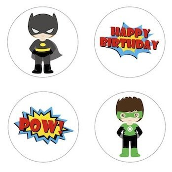 Little Superhero Inspired Edible Cupcake Toppers Decoration ()