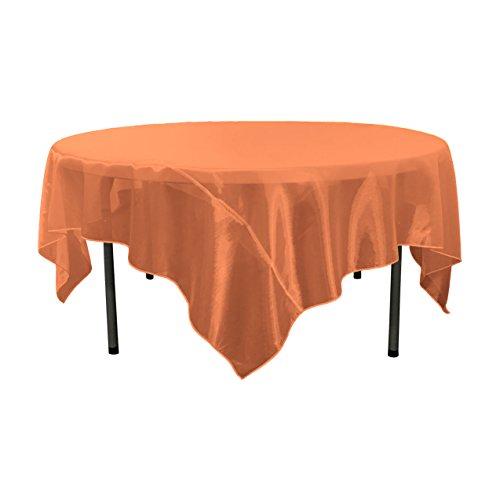 LA Linen Sheer Organza Square Tablecloth, Orange, 90 by 90
