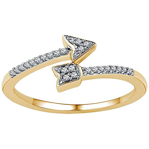 Jewel Tie - Size 5 - Solid 10k Yellow Gold Round Diamond Bisected Arrow Band Ring 1/12 Cttw.