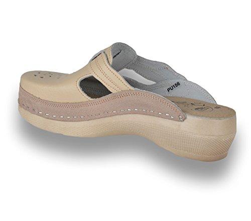 Para Pu156 Zapatos Beige Leon De Zuecos Zapatillas Mujer Cuero YZ6qTwd