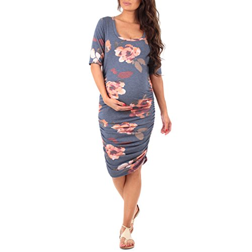 Mother Bee Women's Ruched Maternity Dress Made in USA (Small, Floral Heather Navy)