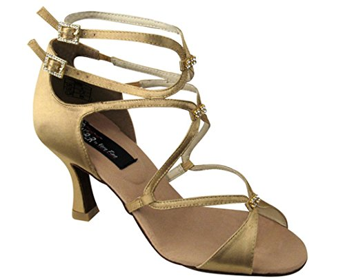 Very Fine Shoes Competitive Dancer Series CD2175 2.5 Tan Satin cVQhS0