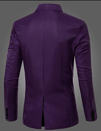 Suit Basic Blazer Purple Breasted Double security Jacket Candy Color Mens Slim q5a1wBU8x