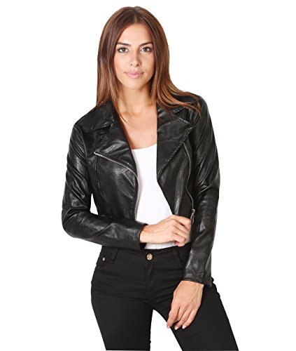 - Krisp 5027-BLK-S: Cropped PU Biker Jacket Black