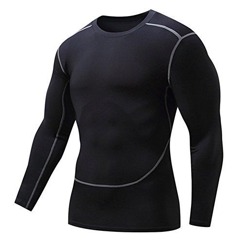 Fanii Quare Men's Soft Slim Long Sleeve Dry-Fit Compression Gym Trainning Shirt Black M