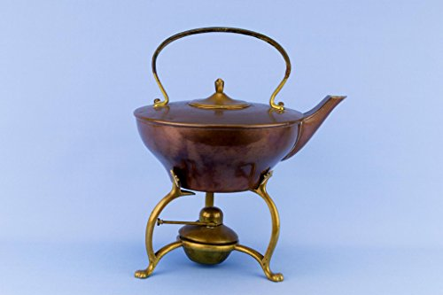 Dr Christopher Dresser Design Medium Copper Brass Kettle on Stand Arts & Crafts Antique Victorian English 1890s by Lavish Shoestring
