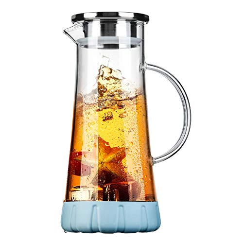 BOQO Glass Water Pitcher, 50 Oz Drip-Free Glass Pitcher with Lid, Glass Water Jug with Particular Coaster, Water Carafe, Juice Pitcher, Water Jar For Homemade Beverage/Ice Tea/Milk/Coffee/Serving Wine (Glass Beverage Jug)