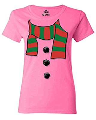 Shop4Ever Snowman Scarf Costume Women's T-Shirt Xmas Shirts