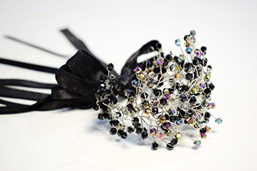 Black Bridal Crown and Bracelet Set by MadeByChic