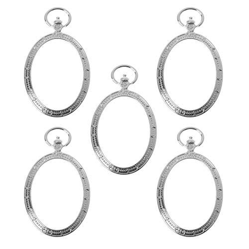 (ZHENXI 5Pcs Oval Pocket Watch Metal Frames Pendant Open Back Bezel Resin Jewelry Making)