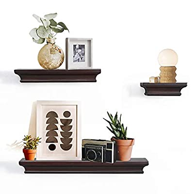 "AHDECOR Floating Shelves Espresso, Ledge Wall Shelf for Home Decor with 4"" Deep, Set of 3 pcs - ❤ECO-FRIENDLY & DURABLE: These beautiful floating wall shelves are made of durable MDF, combining the beauty and strength of wood with the eco-friendly benefits of recycling. No visible support and actually appears to be floating. ❤SPACE SAVING, CLUTTER FREE: Our floating wall ledge measures 4"" deep, stable enough to load petite items; L: 18 x 4 x 1.75 M: 12 x 4 x 1.75 S: 6 x 4 x 1.75 inch provide great use of space for framed photos, potted plants and other tiny trinkets, no mess anymore! ❤EASY TO ASSEMBLE: These cute wall shelves include mounting hardware kit and instruction for easily assemble. Just fix with the screws provided, these wall shelves are ready to dress up your home and living areas. - wall-shelves, living-room-furniture, living-room - 41djZtuFm L. SS400  -"