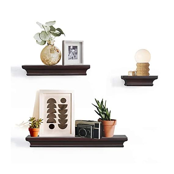 "AHDECOR Floating Shelves Espresso, Ledge Wall Shelf for Home Decor with 4"" Deep, Set of 3 pcs - ❤ECO-FRIENDLY & DURABLE: These beautiful floating wall shelves are made of durable MDF, combining the beauty and strength of wood with the eco-friendly benefits of recycling. No visible support and actually appears to be floating. ❤SPACE SAVING, CLUTTER FREE: Our floating wall ledge measures 4"" deep, stable enough to load petite items; L: 18 x 4 x 1.75 M: 12 x 4 x 1.75 S: 6 x 4 x 1.75 inch provide great use of space for framed photos, potted plants and other tiny trinkets, no mess anymore! ❤EASY TO ASSEMBLE: These cute wall shelves include mounting hardware kit and instruction for easily assemble. Just fix with the screws provided, these wall shelves are ready to dress up your home and living areas. - wall-shelves, living-room-furniture, living-room - 41djZtuFm L. SS570  -"