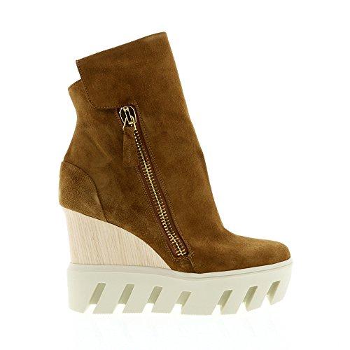 Frankie Stern Camel Suede Lug Sole Wedge Sneaker Bag Camel