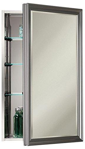 - Jensen S568N244SSSNPX Satin Nickel Frame Bevel Mirror Medicine Cabinet, 15
