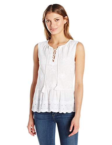 Lucky Brand Women's Studded Peplum Tank Top, Bright White, Medium