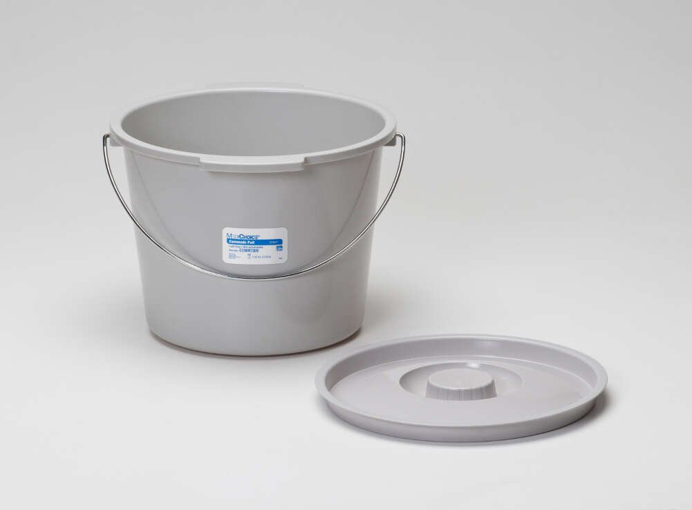 MediChoice Commode Pail Sets With Lids and Handles, Plastic, Gray, 12 Quart (Case of 6)