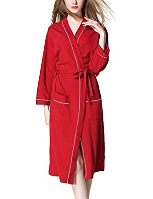 Yiwa Concise Style Women's Organic Cotton Bathrobe & Spa Robes, Kimono Style, Soft, Natural