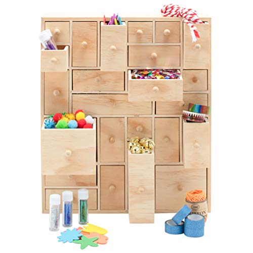 Wooden Storage Organizer - 24 Drawer | Craft Storage | Teacher Toolbox | Desktop Organizer | Apothecary Cabinet | DIY Advent Calendar - Unfinished Natural Wood. 12.5in x 14.5in x 4in]()