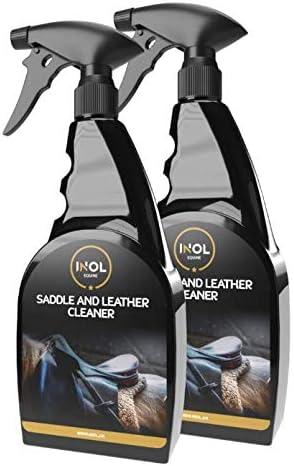 2 limpiadores de cuero y sillín equinos de 500 ml. Spray formulado y limpiador seguro para eliminar manchas, grasas animales y proteínas de sillines y ...