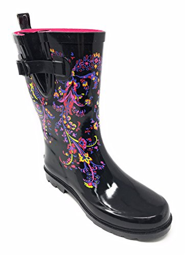 Forever Blk Young Rain Women Boots 11'' Rubber Mid Flower Calf Booties T7rTwxqz