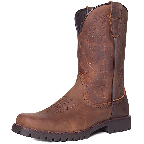 J's.o.l.e Men's Square Toe Western Work Cowboy Boot Brown US 10