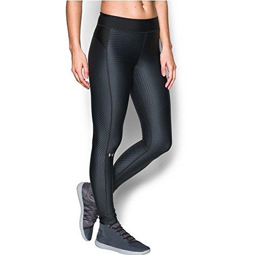 Under Armour Women's HeatGear Armour Printed Legging, Black/Metallic Silver, Medium