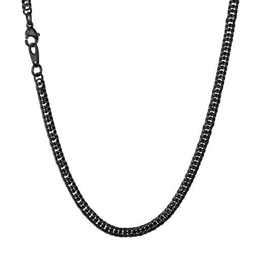 U7 Cool Ion Plating Black Curb Links 3.5mm Chain for Pendant or as Necklace for Men and Women, 18 Inch ()