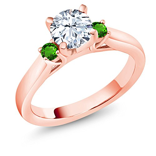 Gem Stone King 1.78 Ct Zirconia & Simulated Tsavorite 18K Rose Gold Plated Silver 3-Stone Ring (Size 5)