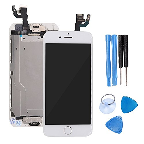 Ibaye LCD Display Touch Screen Digitizer Glass Lens with Camera and Home Button Assembly Repair Replacement for iPhone 6 (4.7)inch with Tools White