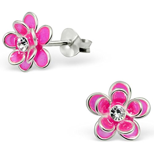 JAYARE® Boucles d'oreilles Enfants fleurs 9 x 9 mm Cristal argent sterling 925 rose avec étui de cadeau clou d'oreilles fille